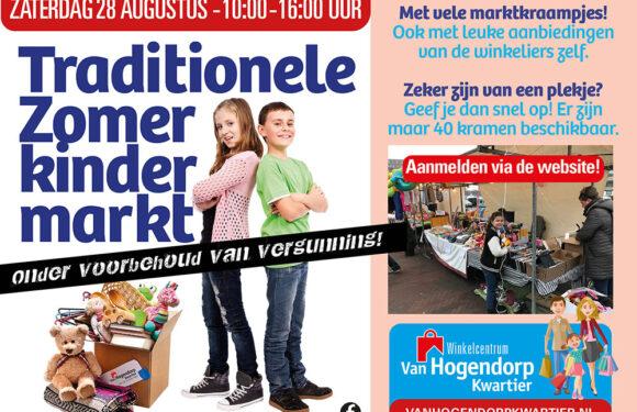 Zaterdag 28 augustus van 10.00 tot 16.00 uur Traditionele Kinderrommelmarkt op winkelcentrum Van Hogendorpkwartier